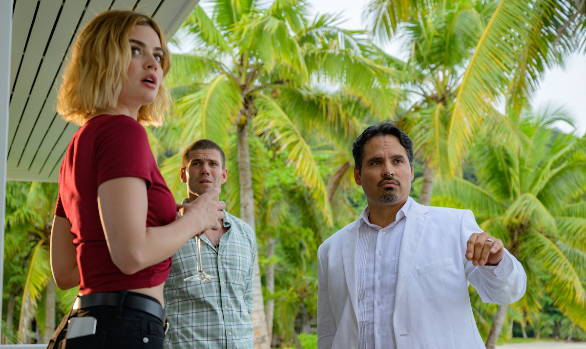 Michael Peña, Lucy Hale, and Austin Stowell in Fantasy Island (2020)
