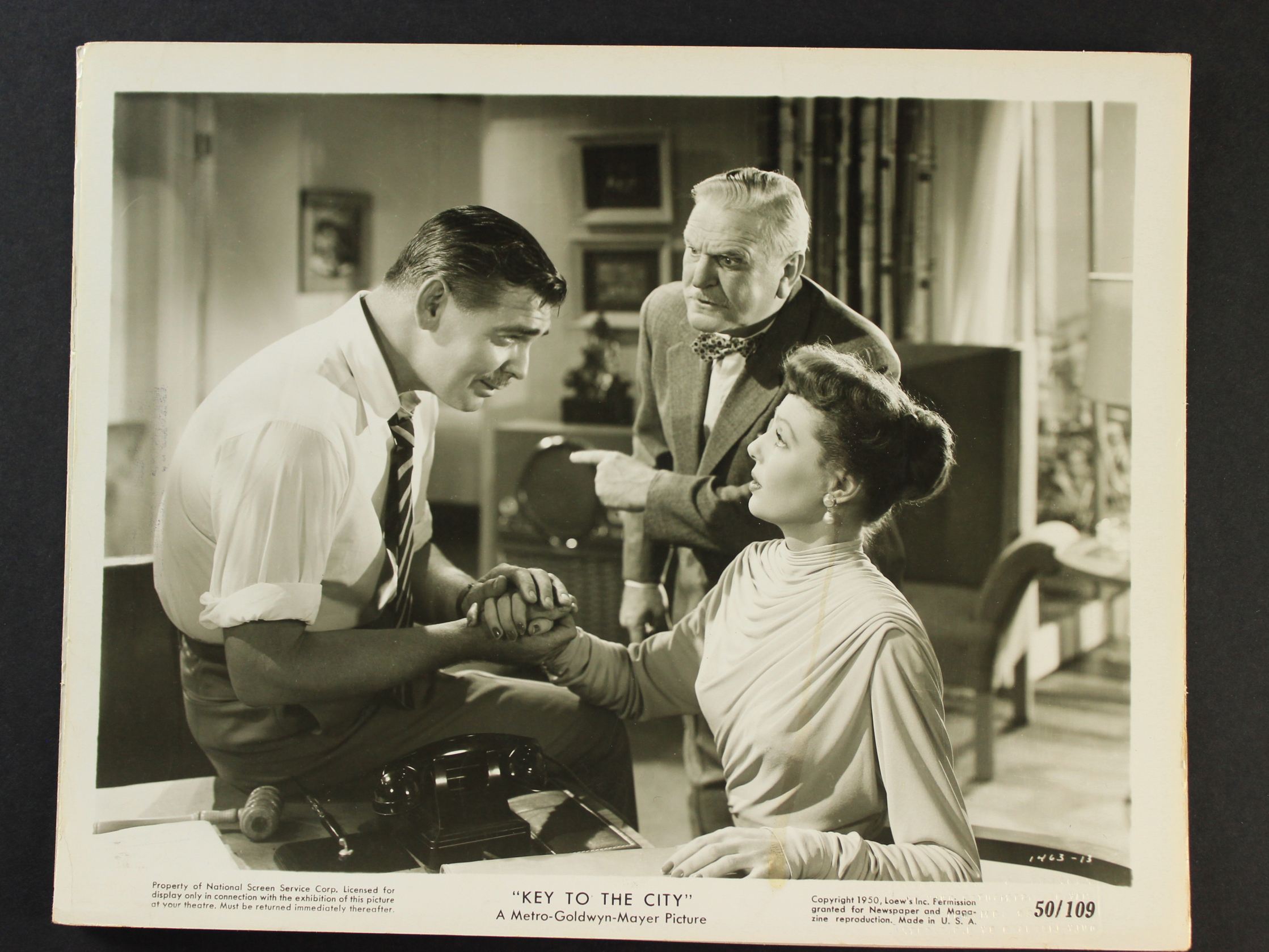 Clark Gable, Frank Morgan, and Loretta Young in Key to the City (1950)