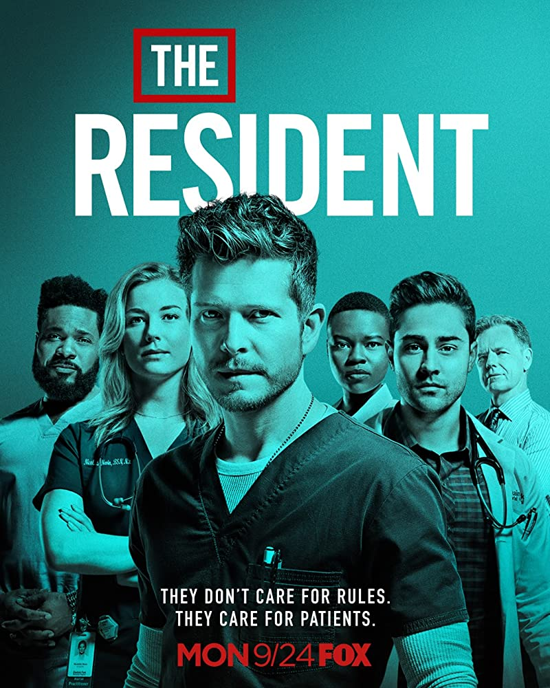 Matt Czuchry, Bruce Greenwood, Emily VanCamp, Malcolm-Jamal Warner, Manish Dayal, and Shaunette Renée Wilson in The Resident (2018)