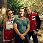 Brianne Howey, Anthony Meindl, and Anthony Meindl on set of Super Novas