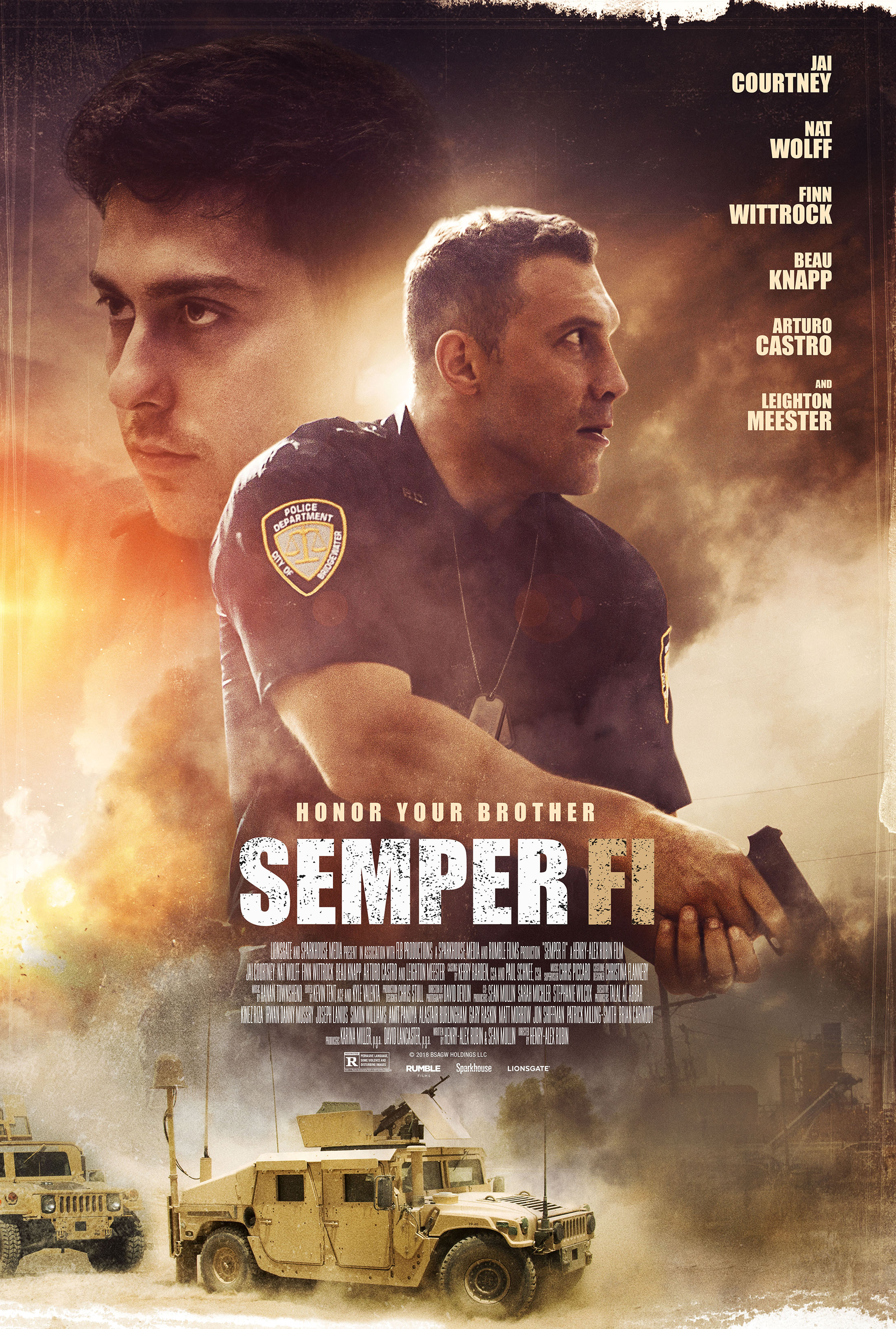 Nat Wolff and Jai Courtney in Semper Fi (2019)