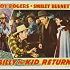 Roy Rogers, Smiley Burnette, Lynne Roberts, Rudy Sooter, and Edwin Stanley in Billy the Kid Returns (1938)