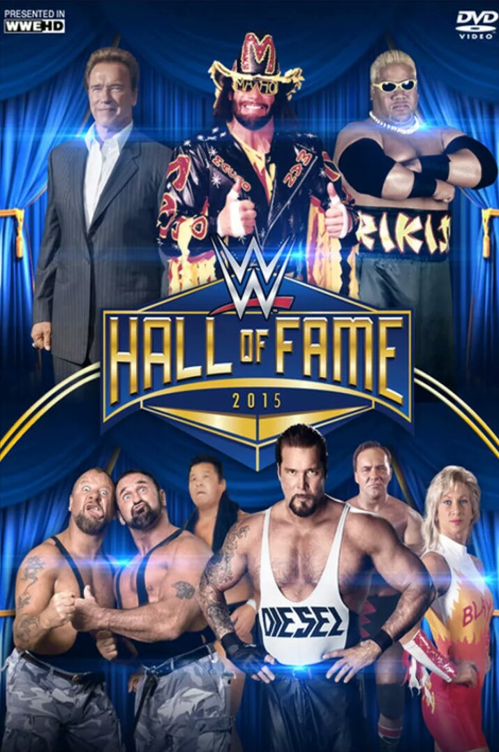 Arnold Schwarzenegger, Solofa Fatu Jr., Debra Ann Miceli, Butch Miller, Kevin Nash, Randy Savage, Larry Whistler, Brian Wickens, and Tatsumi Fujinami in WWE Hall of Fame (2015)