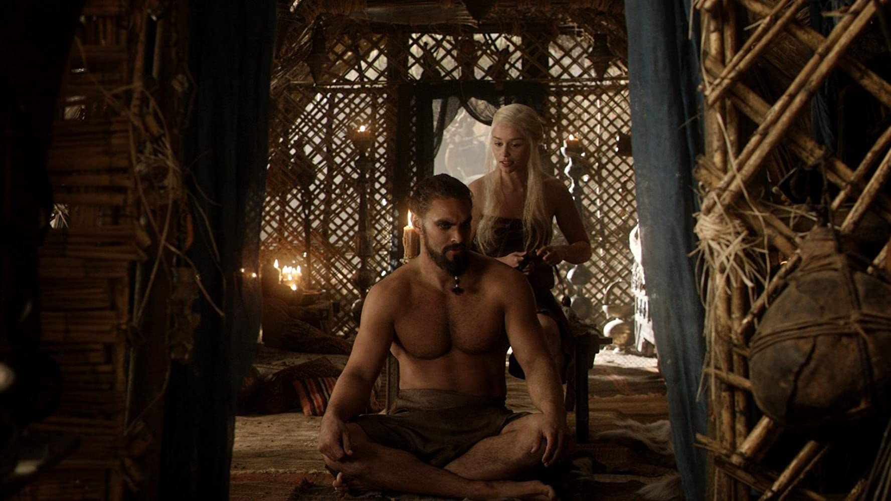 Jason Momoa and Emilia Clarke in Game of Thrones (2011)
