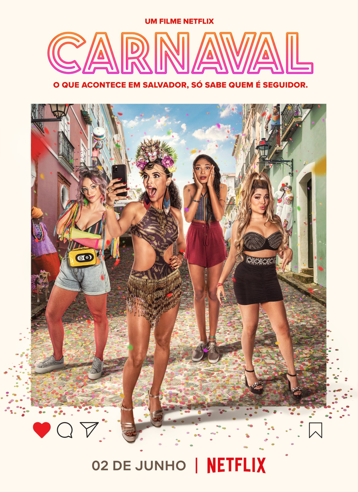 After a breakup, an influencer takes her friends on a free trip to Bahia's vibrant Carnival, where she learns life's not just about social media likes.