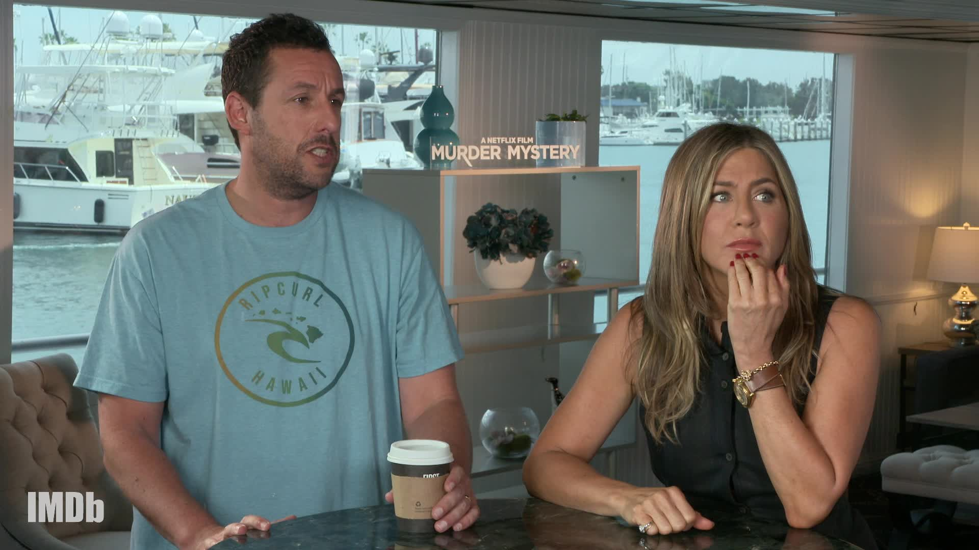 Jennifer Aniston and Adam Sandler Answer 'Murder Mystery'-Inspired Trivia