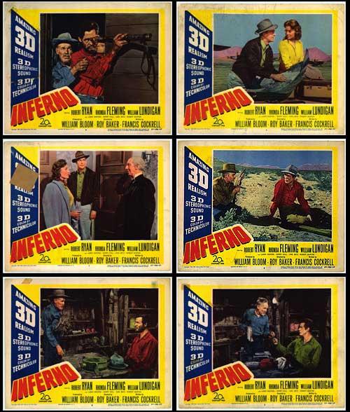 Rhonda Fleming, Henry Hull, William Lundigan, and Robert Ryan in Inferno (1953)