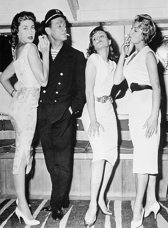 Lise Bourdin, Eddie Constantine, Pascale Roberts, and Véronique Zuber in Ces dames préfèrent le mambo (1957)