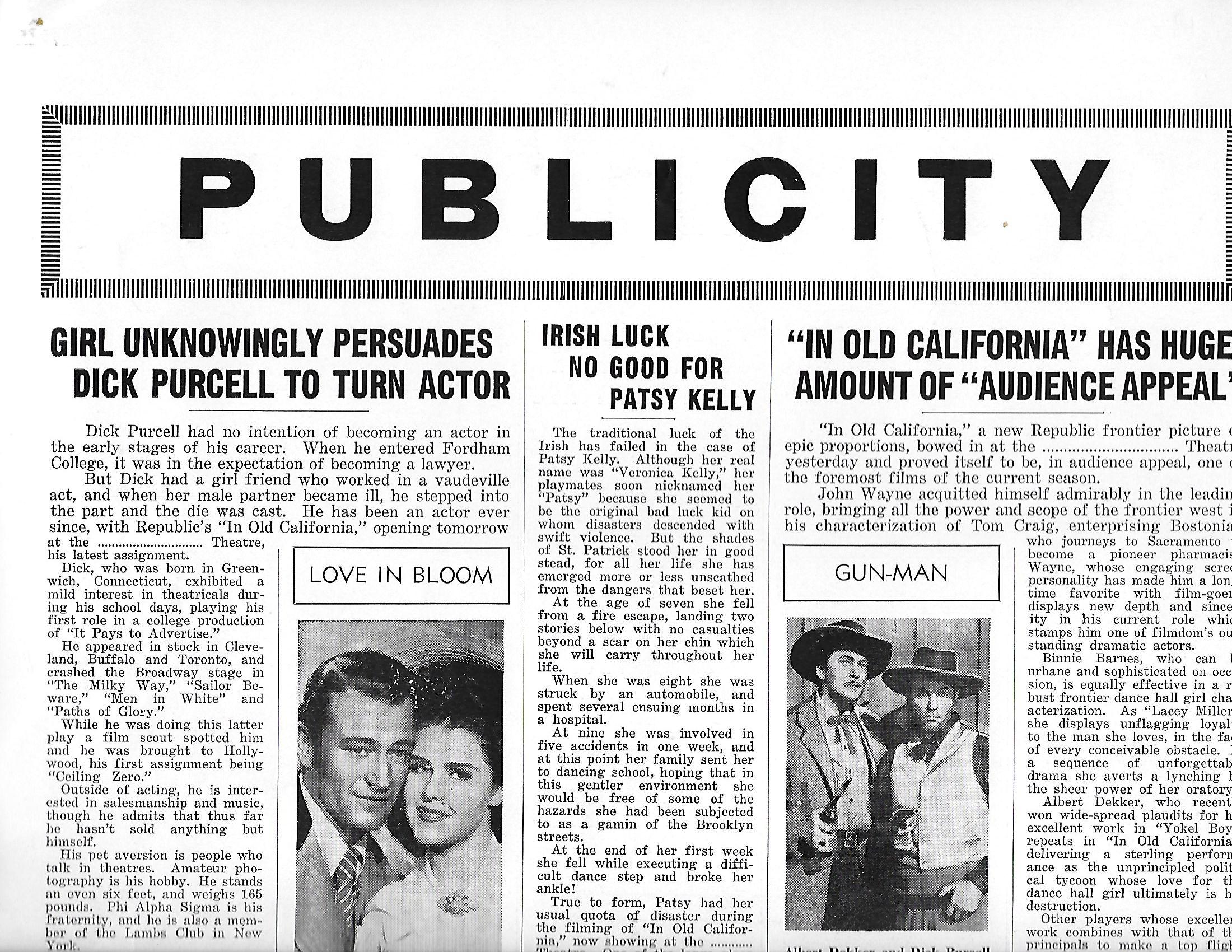 John Wayne, Albert Dekker, Helen Parrish, and Dick Purcell in In Old California (1942)