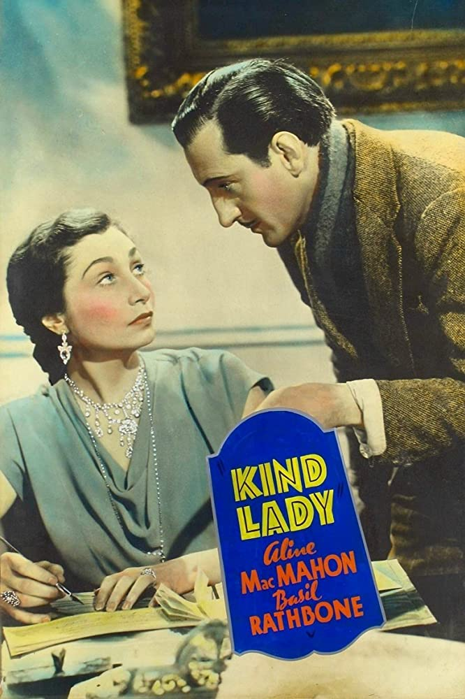Basil Rathbone and Aline MacMahon in Kind Lady (1935)