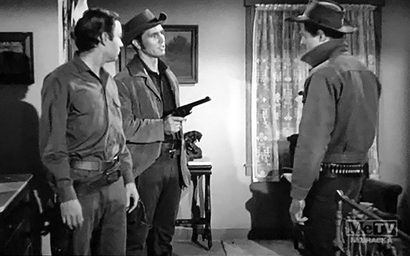 DeForest Kelley, Robert Culp, and Don Durant in Trackdown (1957)