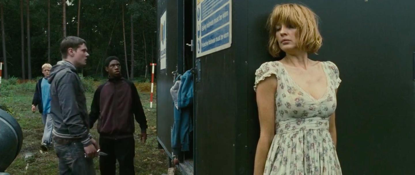 Kelly Reilly, Jack O'Connell, Thomas Turgoose, and Jumayn Hunter in Eden Lake (2008)