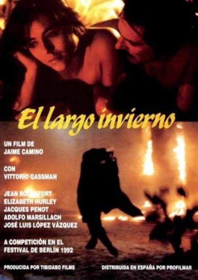 Elizabeth Hurley and Jacques Penot in El largo invierno (1992)