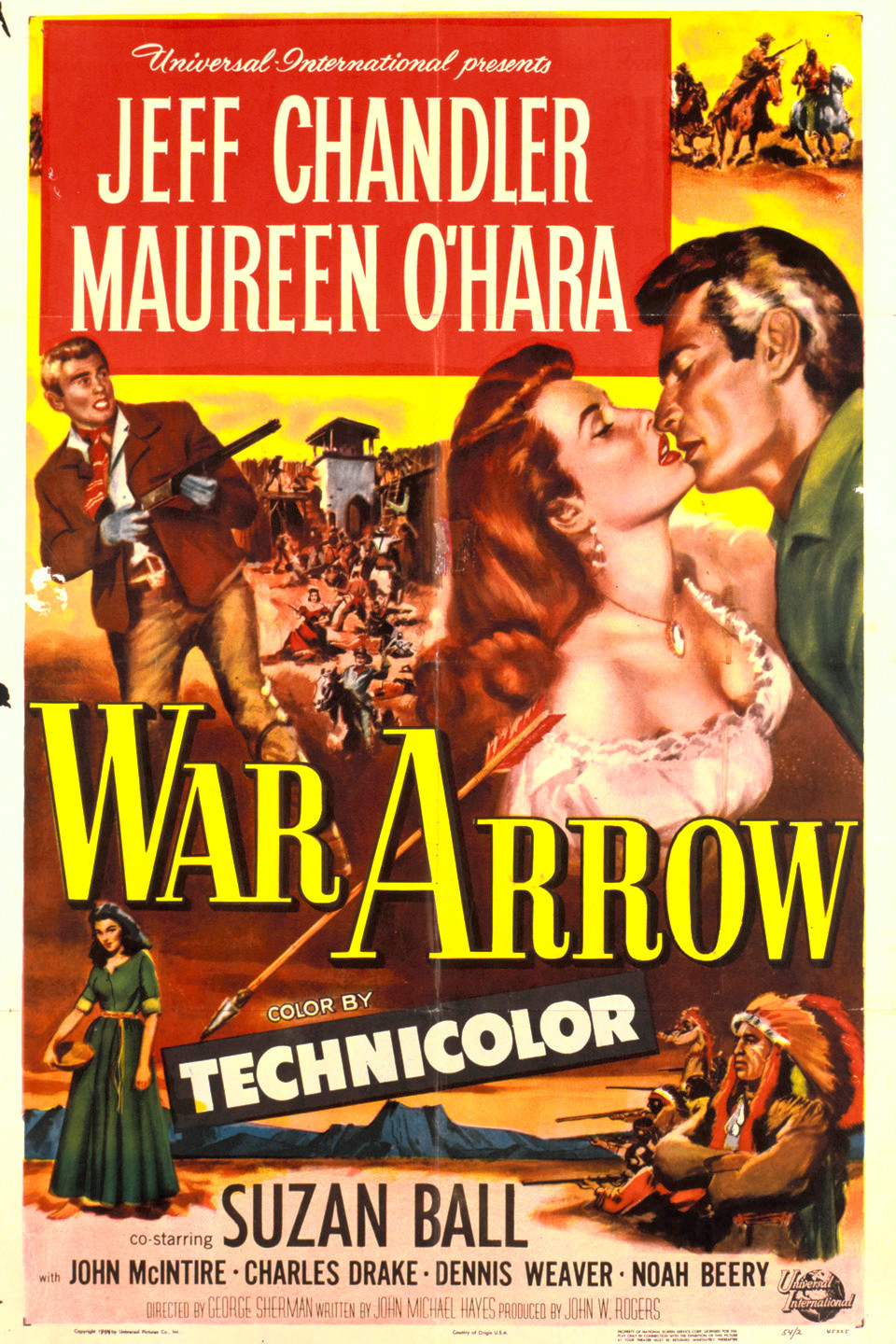 Maureen O'Hara and Jeff Chandler in War Arrow (1953)