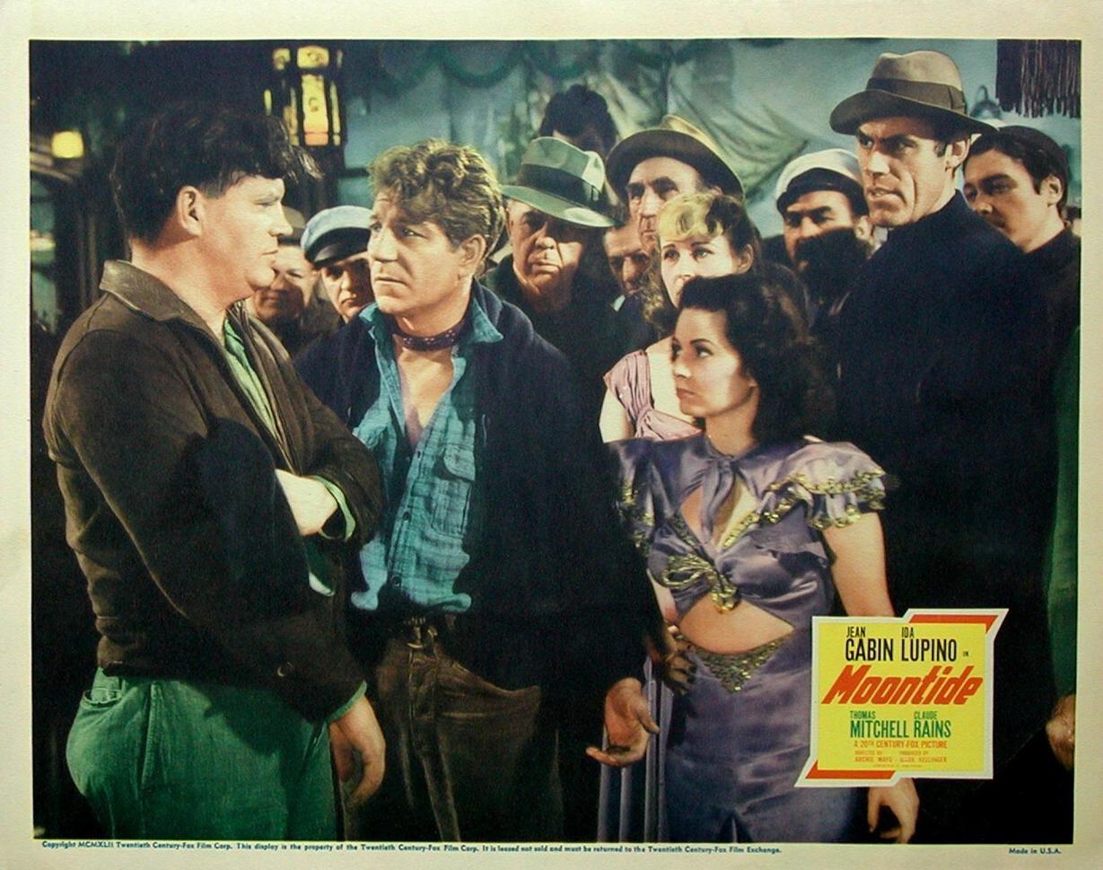 Jean Gabin, Robin Raymond, and Constantine Romanoff in Moontide (1942)
