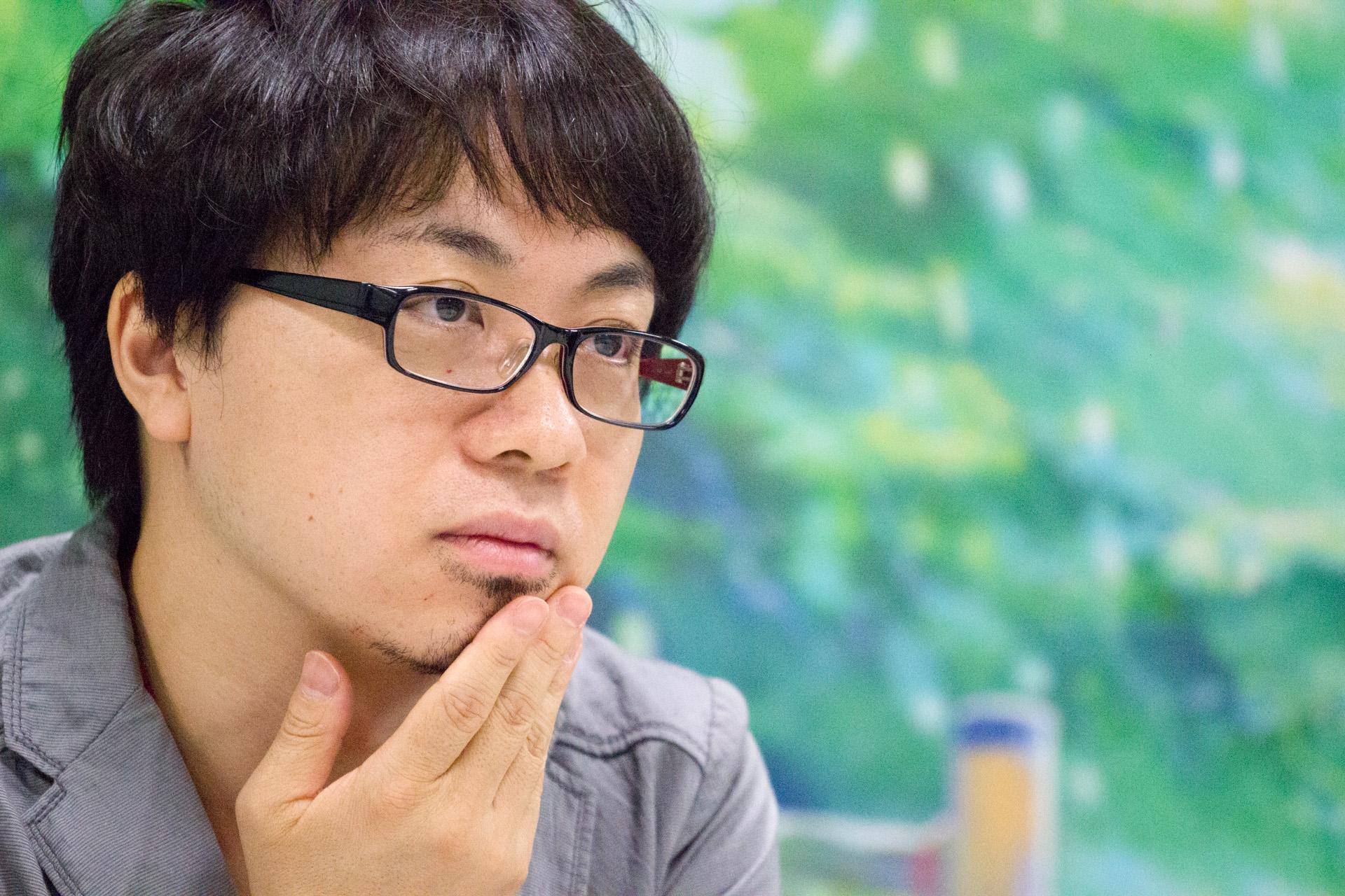 Makoto Shinkai at an event for Koto no ha no niwa (2013)
