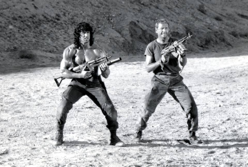 Sylvester Stallone as John Rambo and Richard Crenna as Colonel Samuel Trautman in Rambo III