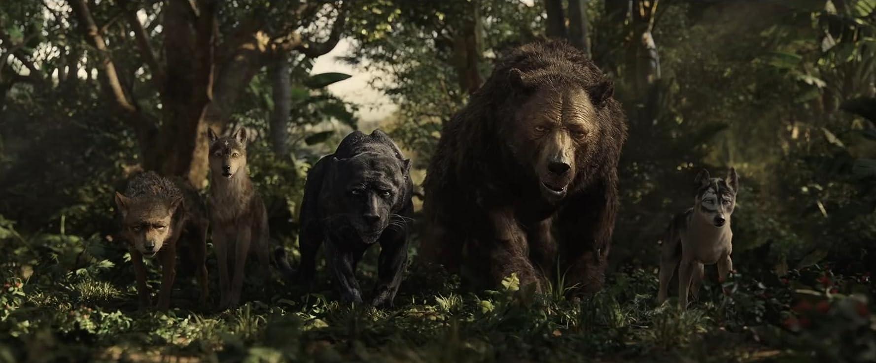 Christian Bale, Naomie Harris, Andy Serkis, and Jack Reynor in Mowgli (2018)