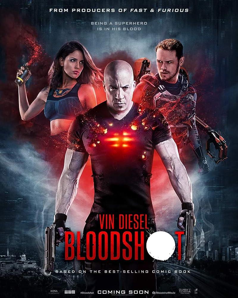 Vin Diesel, Sam Heughan, and Eiza González in Bloodshot (2020) Titles: Bloodshot People: Vin Diesel, Sam Heughan, Eiza González Languages: English