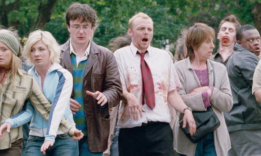 Kate Ashfield, Lucy Davis, Dylan Moran, Simon Pegg, Penelope Wilton, and Simba Masaku in Shaun of the Dead (2004)