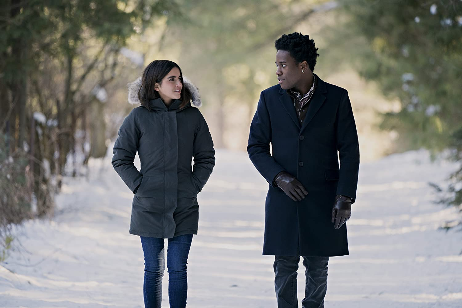 Shameik Moore and Isabela Merced in Let It Snow (2019)