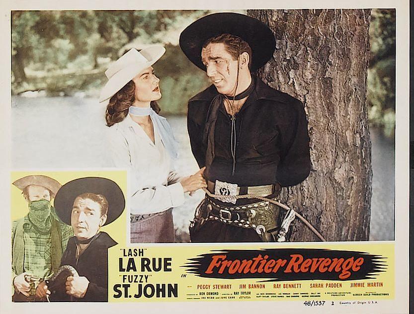 Lash La Rue Al St John and Peggy Stewart in Frontier Revenge 1948