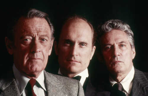 William Holden, Robert Duvall, and Peter Finch in Network (1976)