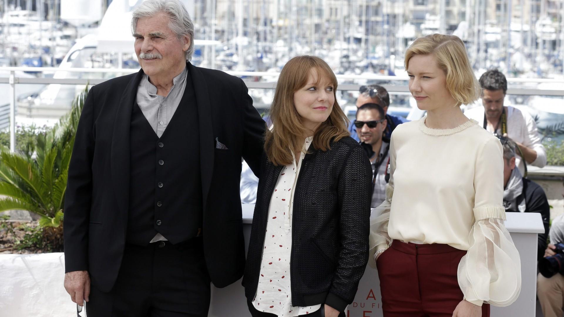 Maren Ade, Peter Simonischek, and Sandra Hüller at an event for Toni Erdmann (2016)