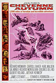 Edward G. Robinson, James Stewart, Sal Mineo, Karl Malden, Ricardo Montalban, Richard Widmark, Dolores del Rio, Carroll Baker, Arthur Kennedy, and Gilbert Roland in Cheyenne Autumn (1964)