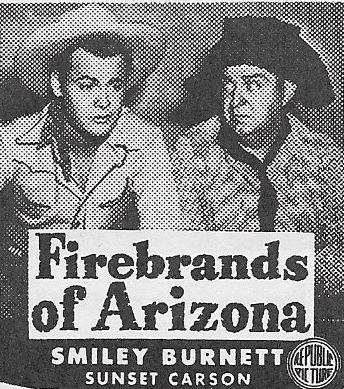 Smiley Burnette and Sunset Carson in Firebrands of Arizona (1944)