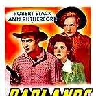Broderick Crawford, Frances Farmer, Ann Rutherford, and Robert Stack in Badlands of Dakota (1941)