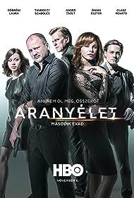 Zsolt Anger, Szabolcs Thuróczy, Eszter Ónodi, Laura Döbrösi, and Renátó Olasz in Aranyélet (2015)