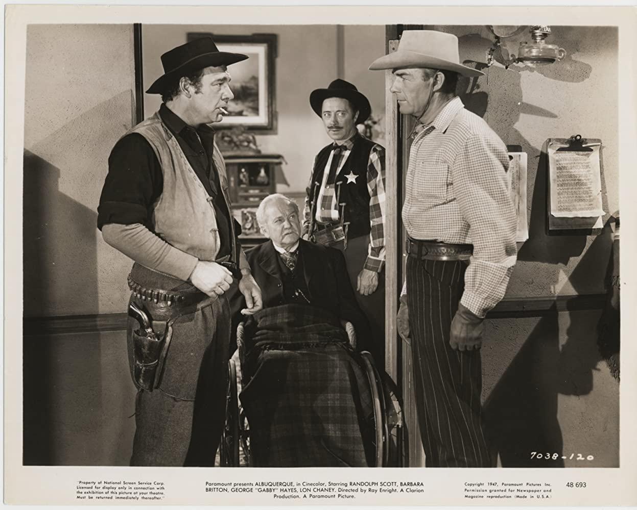 Randolph Scott, Lon Chaney Jr., George Cleveland, and Bernard Nedell in Albuquerque (1948)