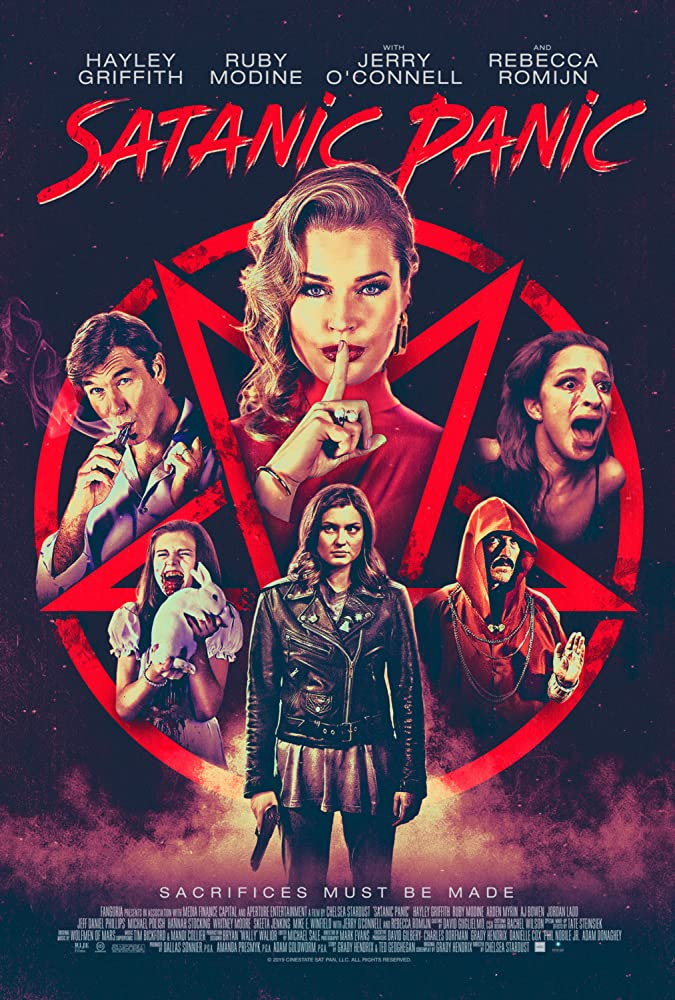 Jerry O'Connell, Rebecca Romijn, Maya Perkins, Hayley Griffith, and Ruby Modine in Satanic Panic (2019)