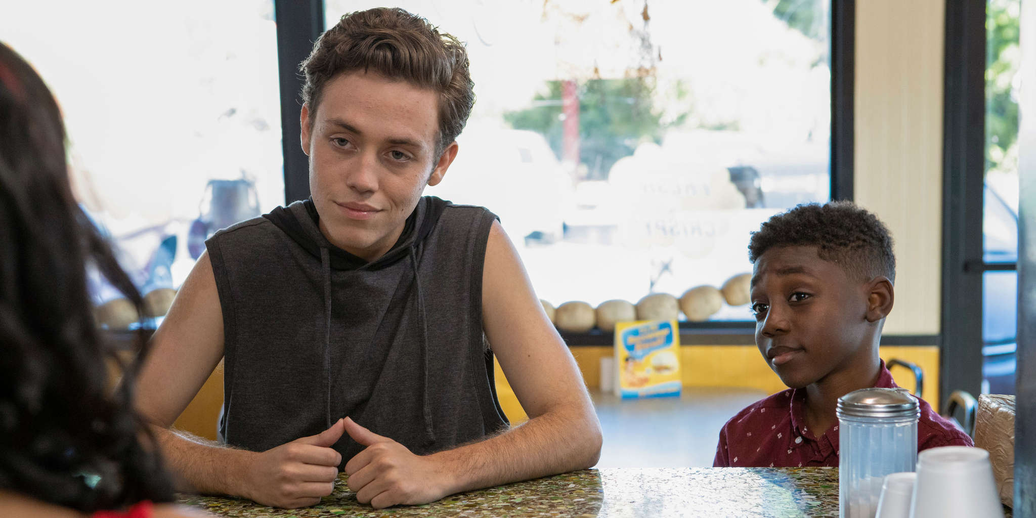 Ethan Cutkosky and Christian Isaiah in Sleep Well My Prince for Tomorrow You Shall Be King (2019)