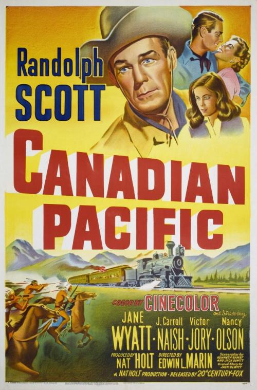 Randolph Scott, Nancy Olson, and Jane Wyatt in Canadian Pacific (1949)