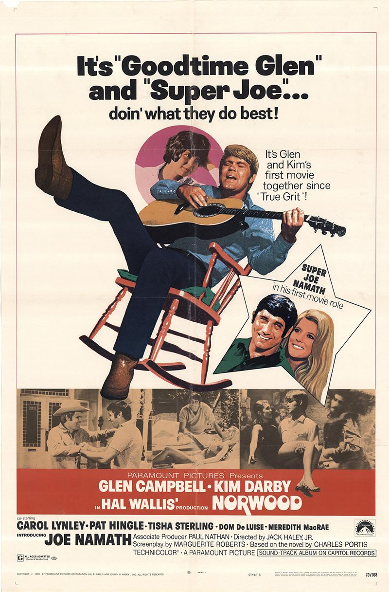 Glen Campbell, Kim Darby, Meredith MacRae, and Joe Namath in Norwood (1970)