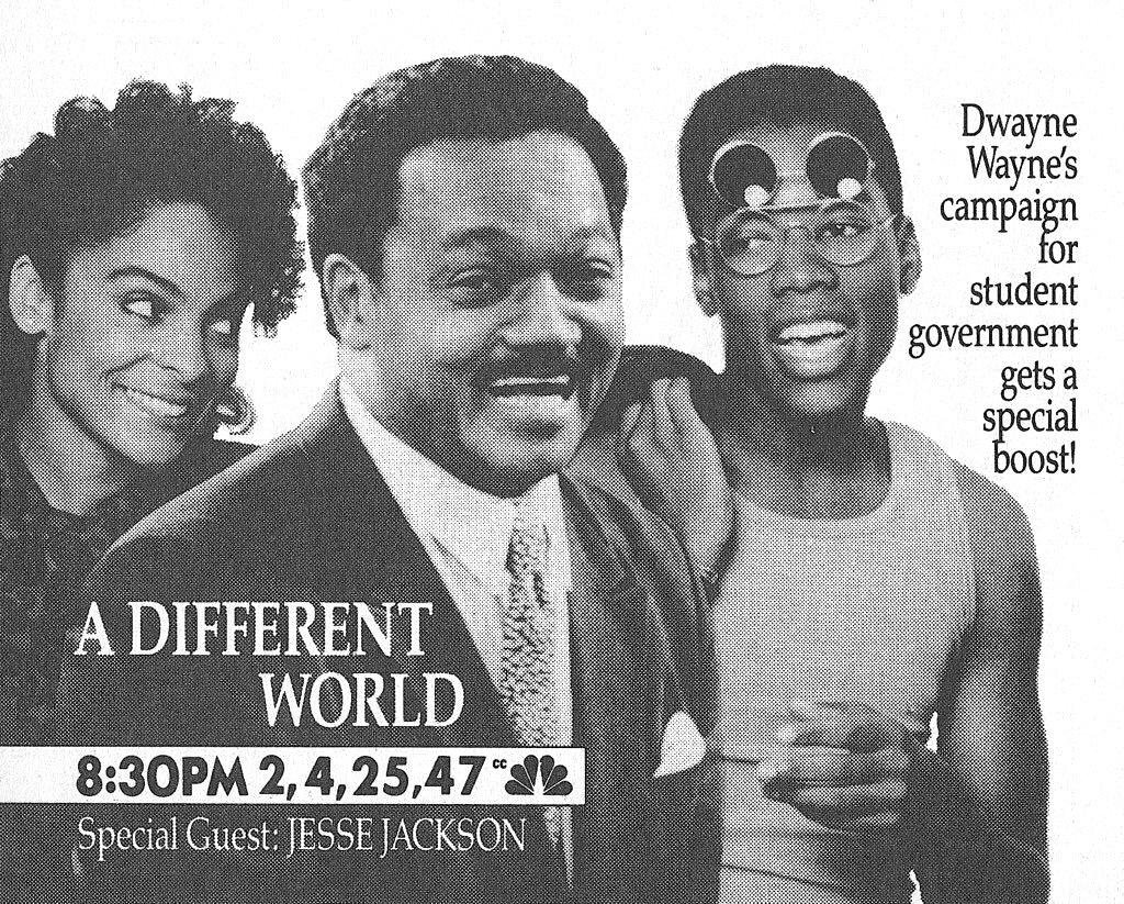 Jasmine Guy, Kadeem Hardison, and Jesse Jackson in A Different World (1987)