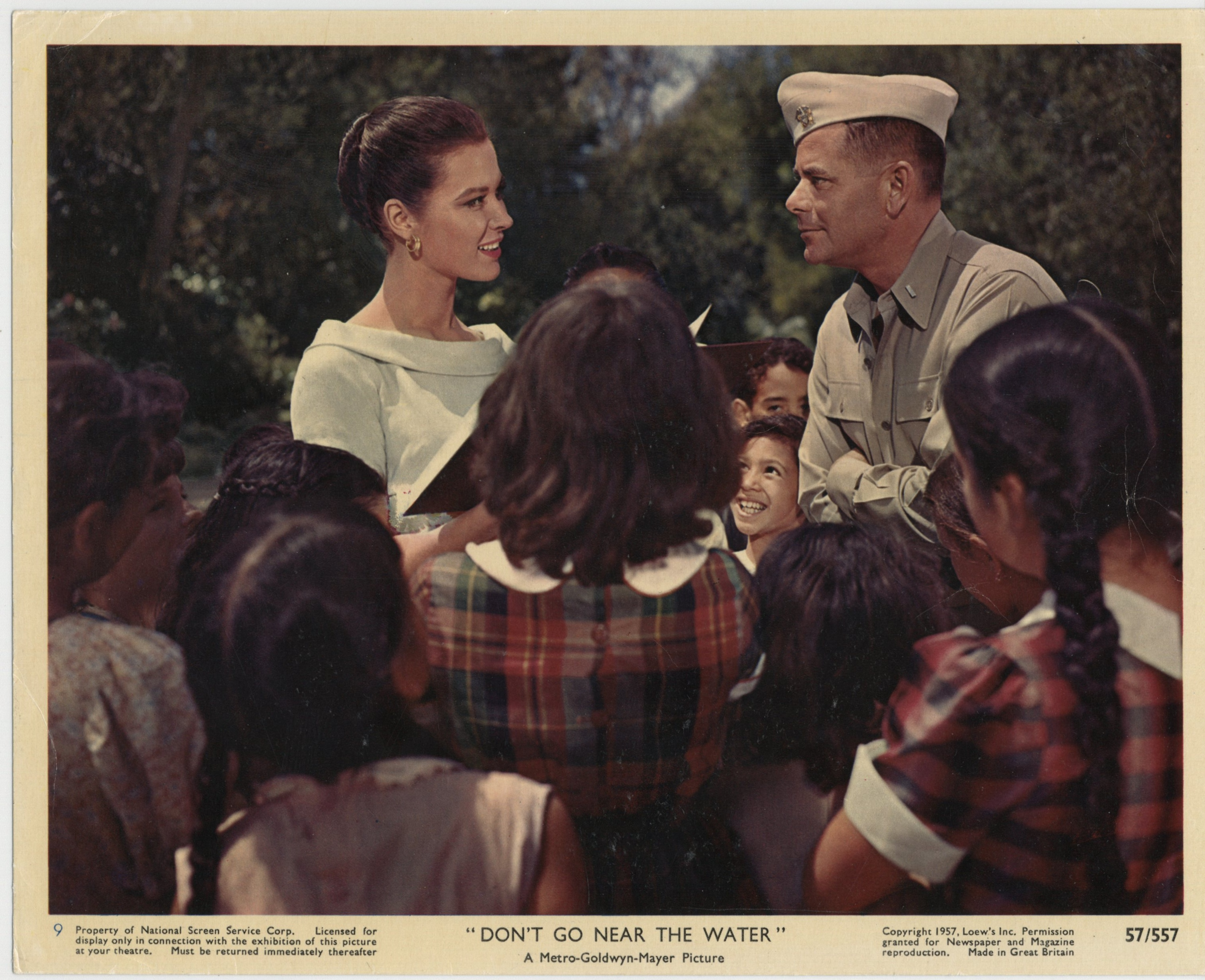 Glenn Ford and Gia Scala in Don't Go Near the Water (1957)