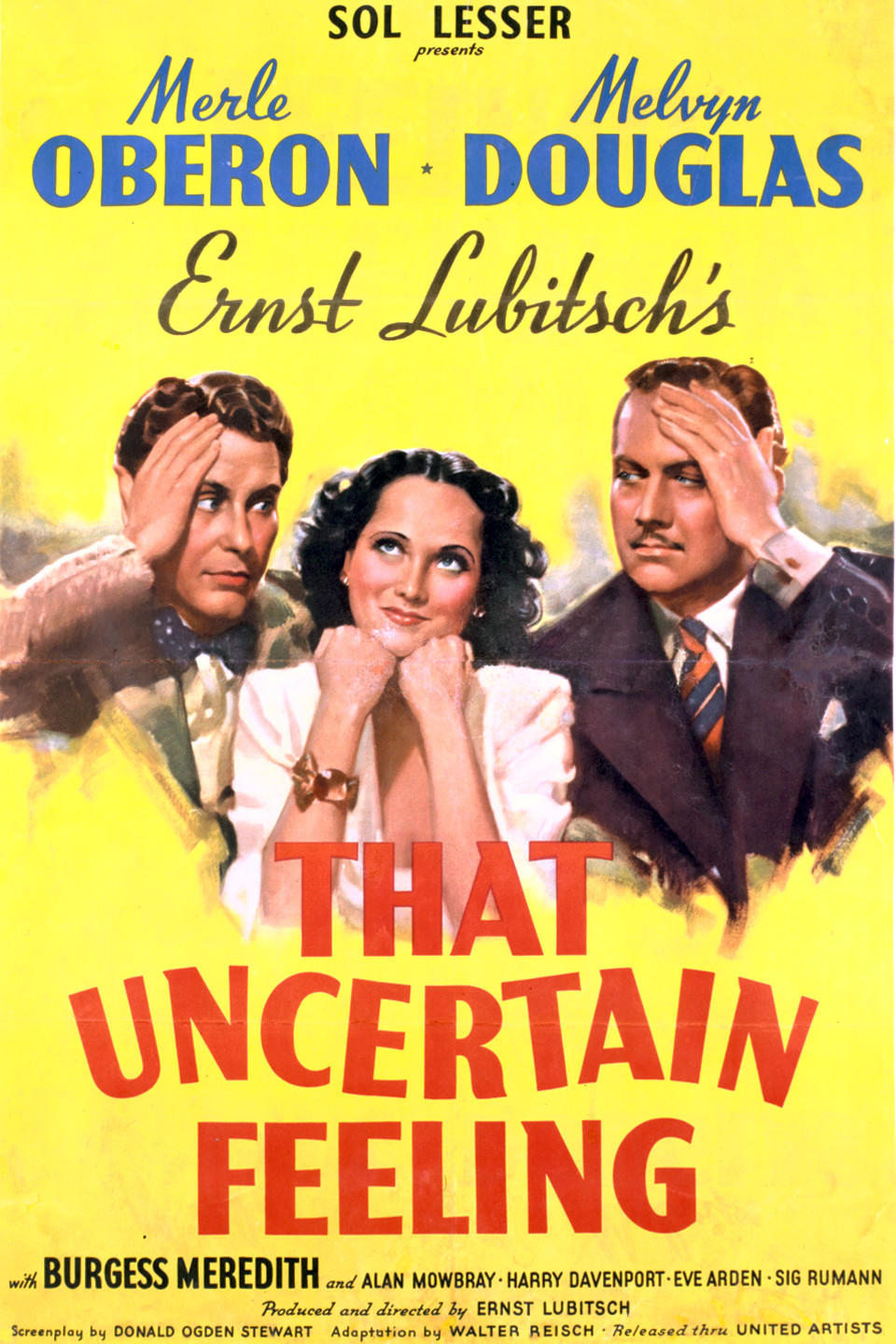Melvyn Douglas, Burgess Meredith, and Merle Oberon in That Uncertain Feeling (1941)