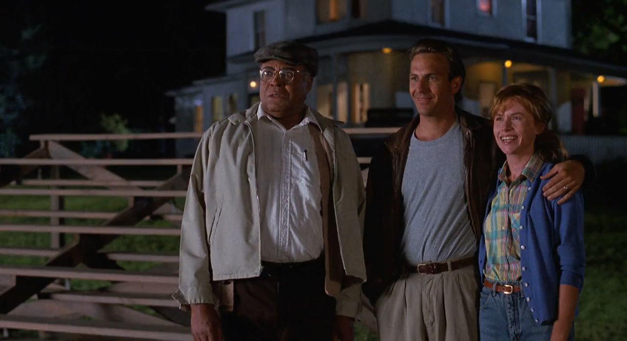 Kevin Costner, James Earl Jones, and Amy Madigan in Field of Dreams (1989)