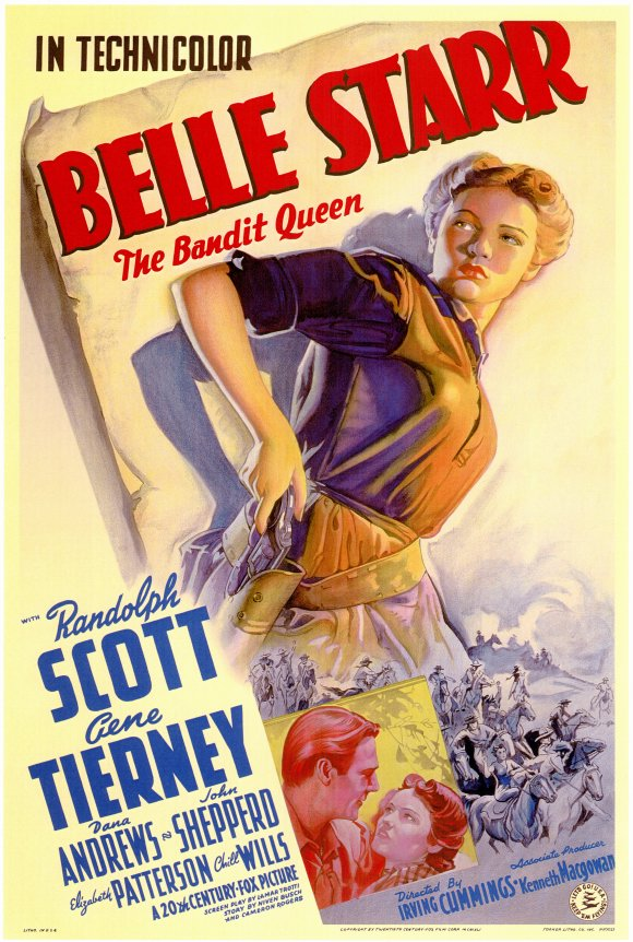 Randolph Scott and Gene Tierney in Belle Starr (1941)