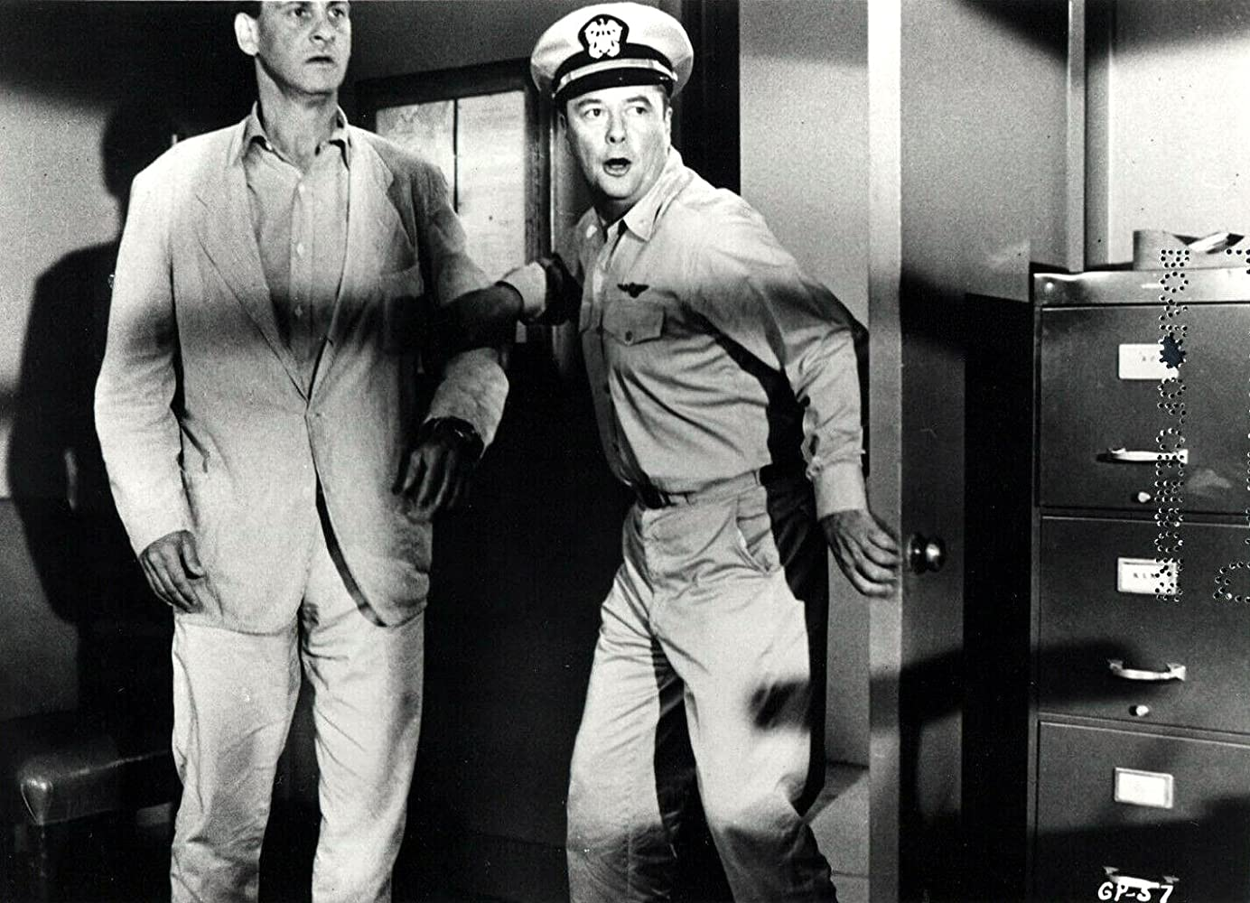 Hans Conried and Tim Holt in The Monster That Challenged the World (1957)