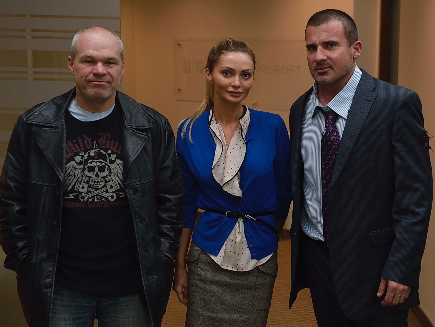 Uwe Boll, Dominic Purcell, and Gia Skova in Bailout: The Age of Greed (2013)