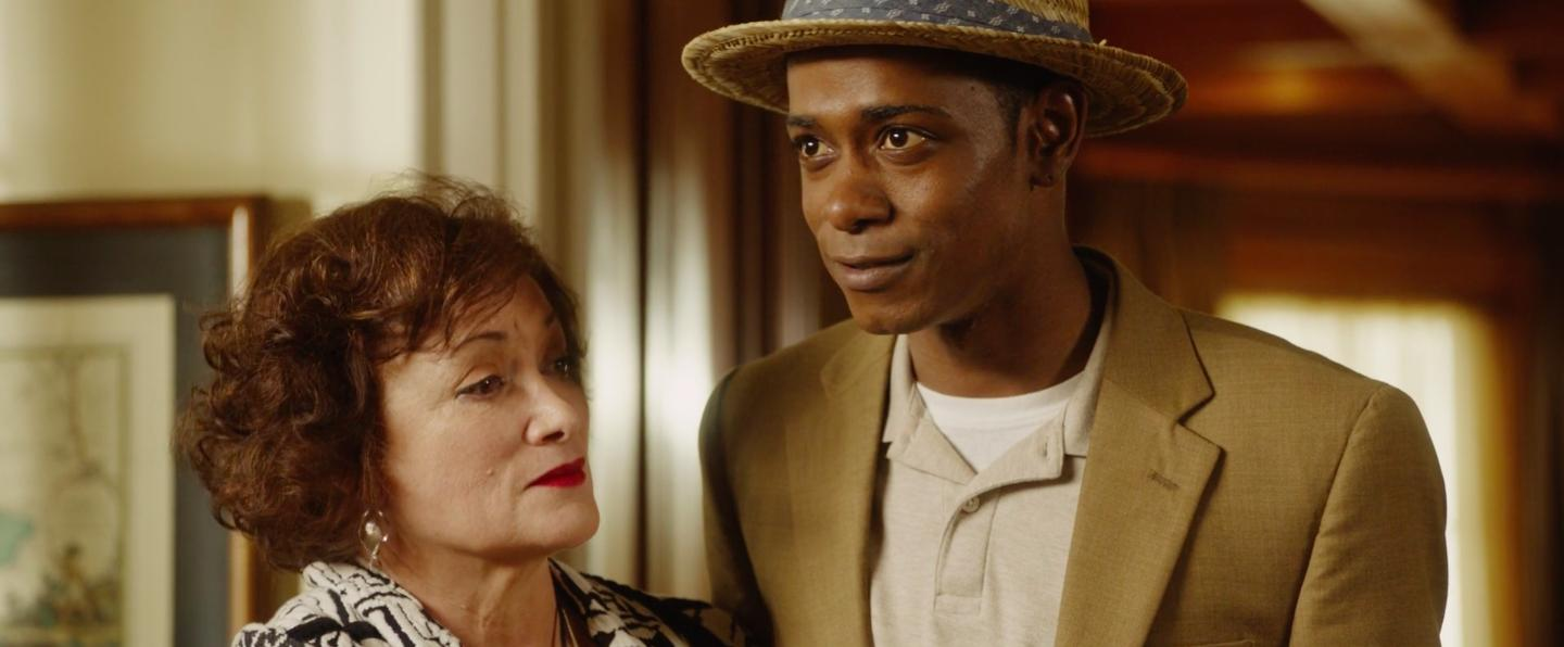 Geraldine Singer and Lakeith Stanfield in Get Out (2017)