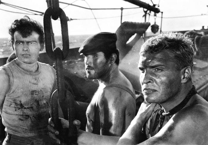 Mario Adorf, Horst Buchholz, and Helmut Schmid in Das Totenschiff (1959)