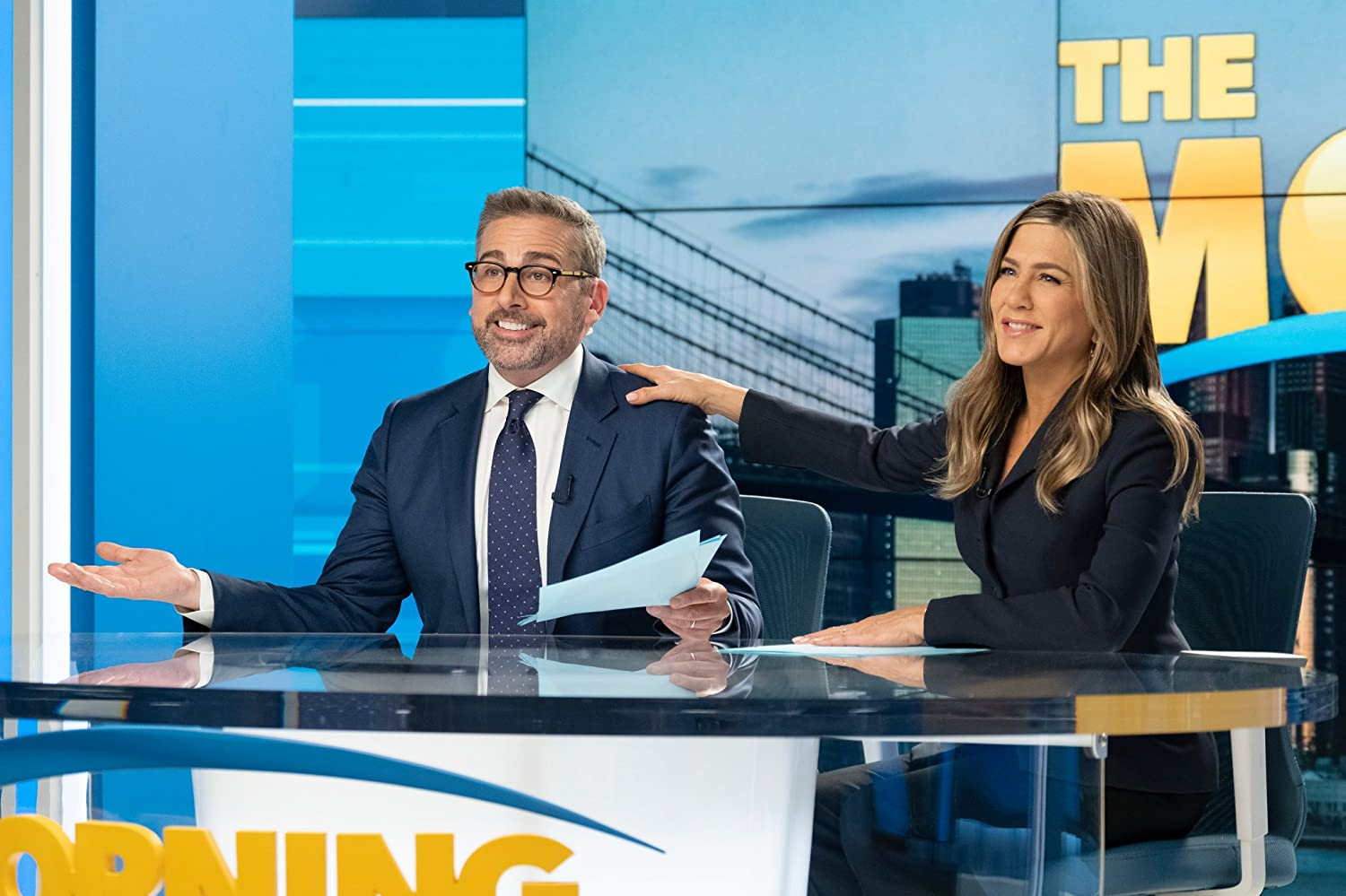 Jennifer Aniston and Steve Carell in The Morning Show (2019)
