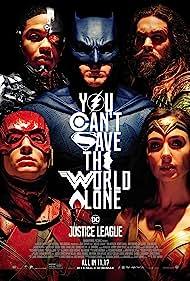 Ben Affleck, Jeremy Irons, Amy Adams, Henry Cavill, Jason Momoa, Gal Gadot, Ezra Miller, and Ray Fisher in Justice League (2017)