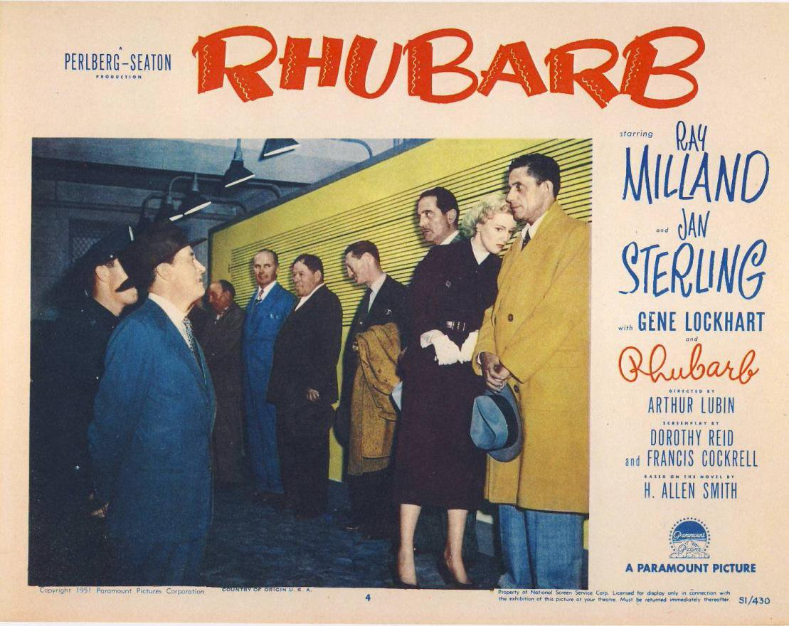Ray Milland, Jan Sterling, and Mack Gray in Rhubarb (1951)