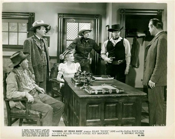 Roy Barcroft, Phyllis Coates, William Henry, Allan Lane, Robert Shayne, and Eddy Waller in Marshal of Cedar Rock (1953)